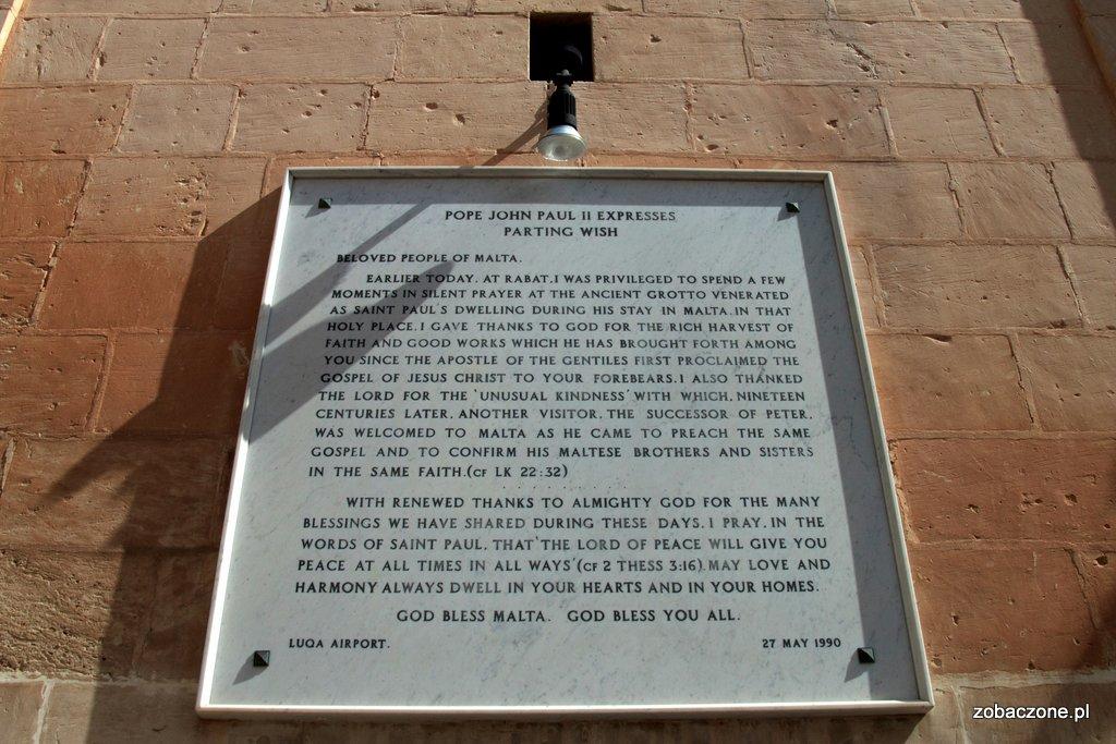 Rabat - tablica upamiętniająca wizytę Jana Pawła II na Malcie