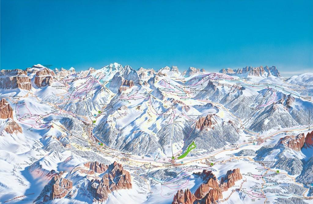 Mapka Val di Fassa -  trasy